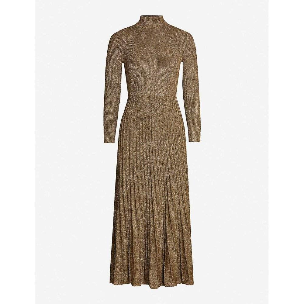 サンドロ SANDRO レディース パーティードレス ワンピース・ドレス【Pleated-skirt metallic knitted dress】Gold