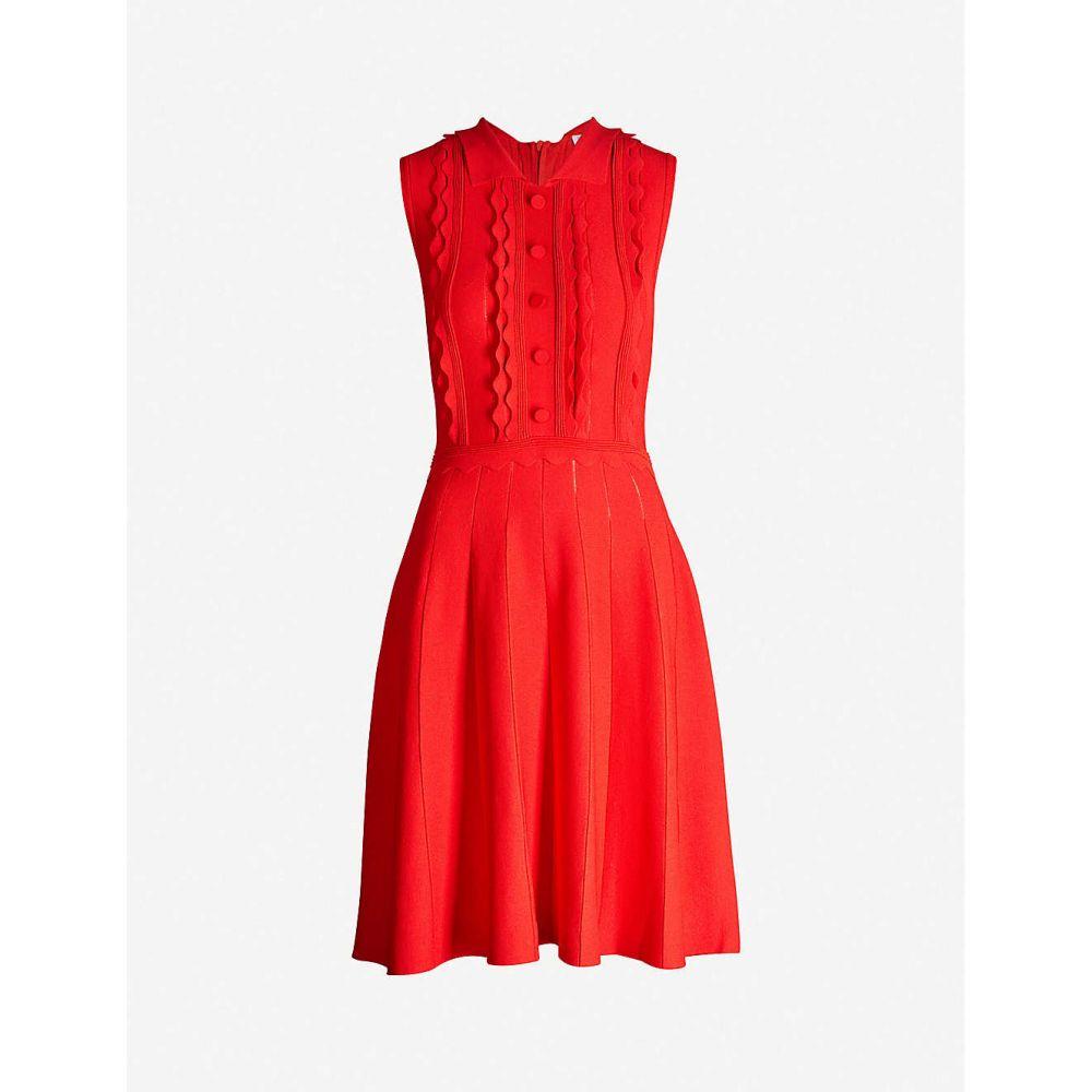 クローディ ピエルロ CLAUDIE PIERLOT レディース ワンピース ノースリーブ ワンピース・ドレス【Scalloped-trim sleeveless stretch-knit dress】Rouge