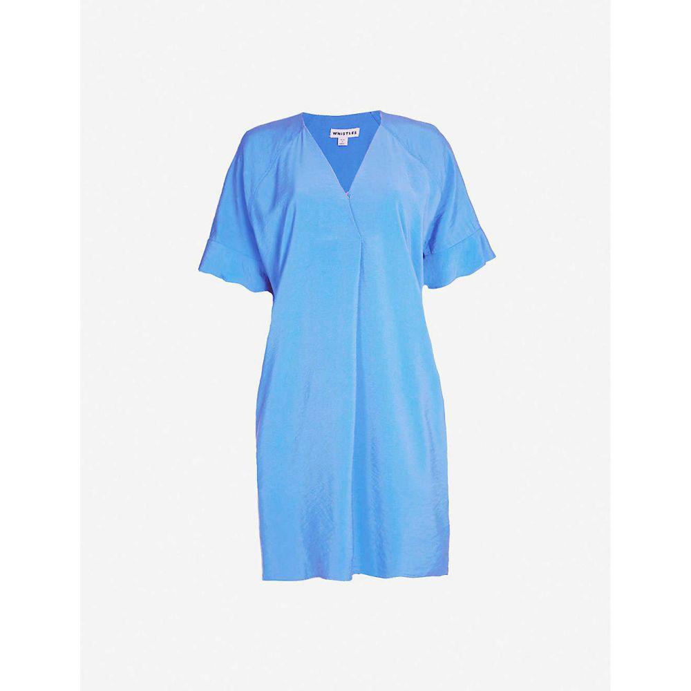 ホイッスルズ WHISTLES レディース ワンピース Vネック ワンピース・ドレス【Alba loose-fit V-neck twill mini dress】Blue