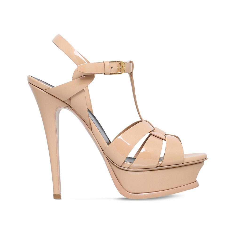 イヴ サンローラン SAINT LAURENT レディース サンダル・ミュール シューズ・靴【Tribute patent leather platform sandals】NUDE