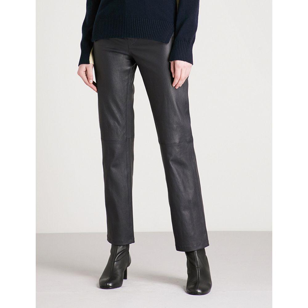 ジョゼフ JOSEPH レディース スキニー・スリム ボトムス・パンツ【Slim-fit straight high-rise leather trousers】Navy
