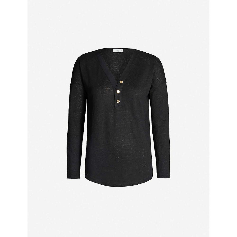 サンドロ SANDRO レディース トップス 【Gilded-button linen and cotton-blend top】Black