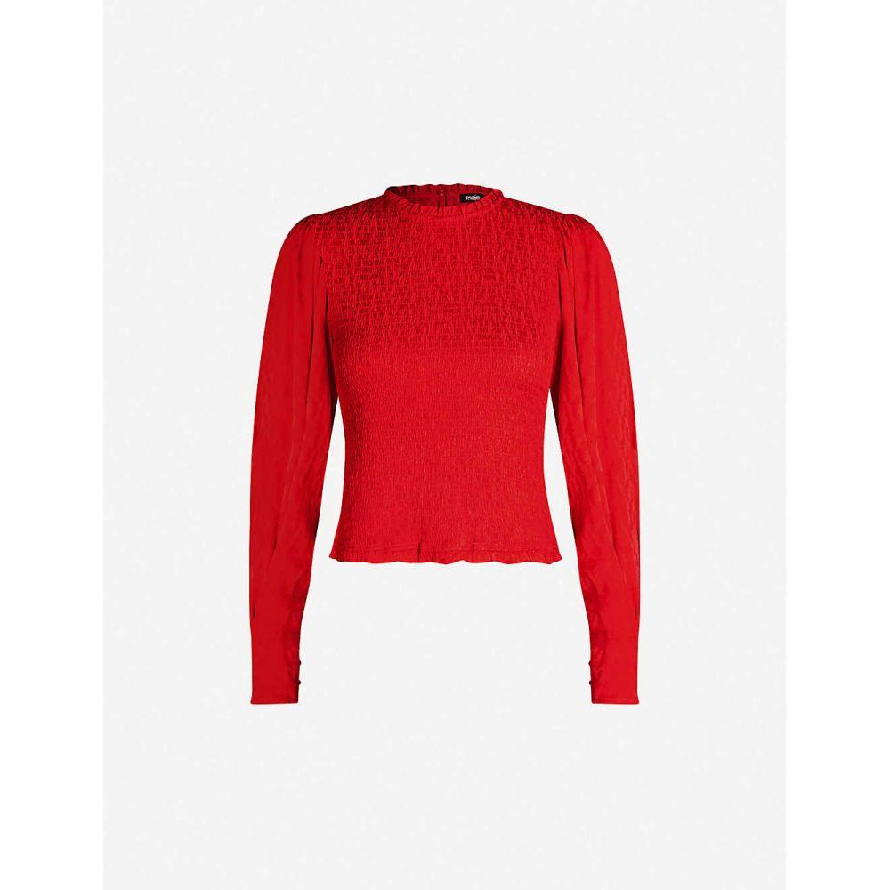マージュ MAJE レディース ブラウス・シャツ トップス【Shirred animal-jacquard blouse】Red