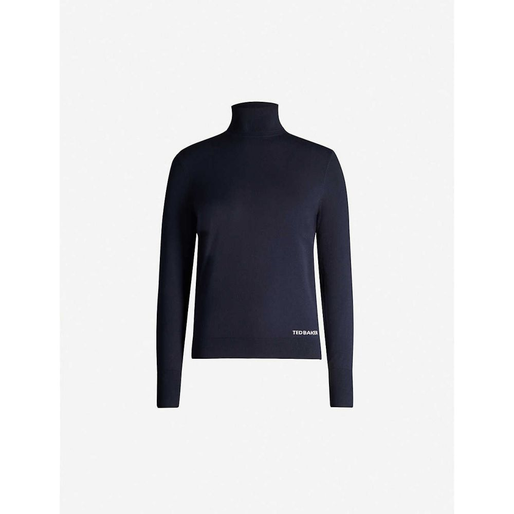 テッドベーカー TED BAKER レディース ニット・セーター トップス【Logo-embroidered turtleneck knitted jumper】Dk-blue
