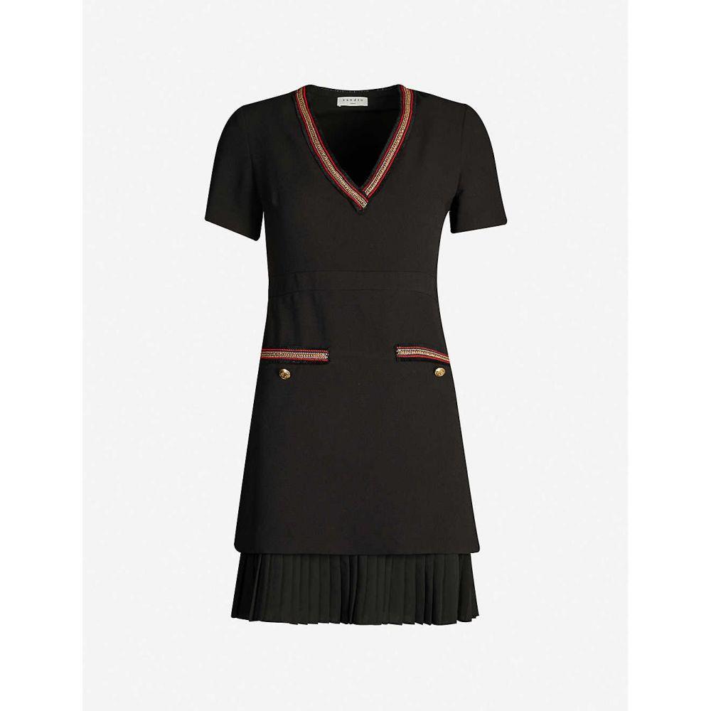 サンドロ SANDRO レディース ワンピース ワンピース・ドレス【Metallic-trim pleated crepe dress】Black