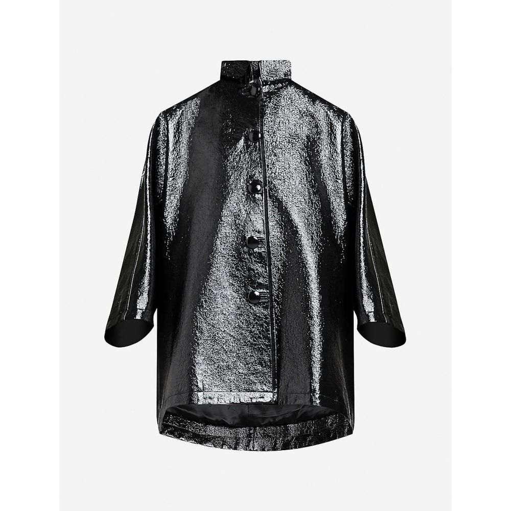 バレンシアガ BALENCIAGA レディース レザージャケット アウター【Oversized faux-leather jacket】BLACK