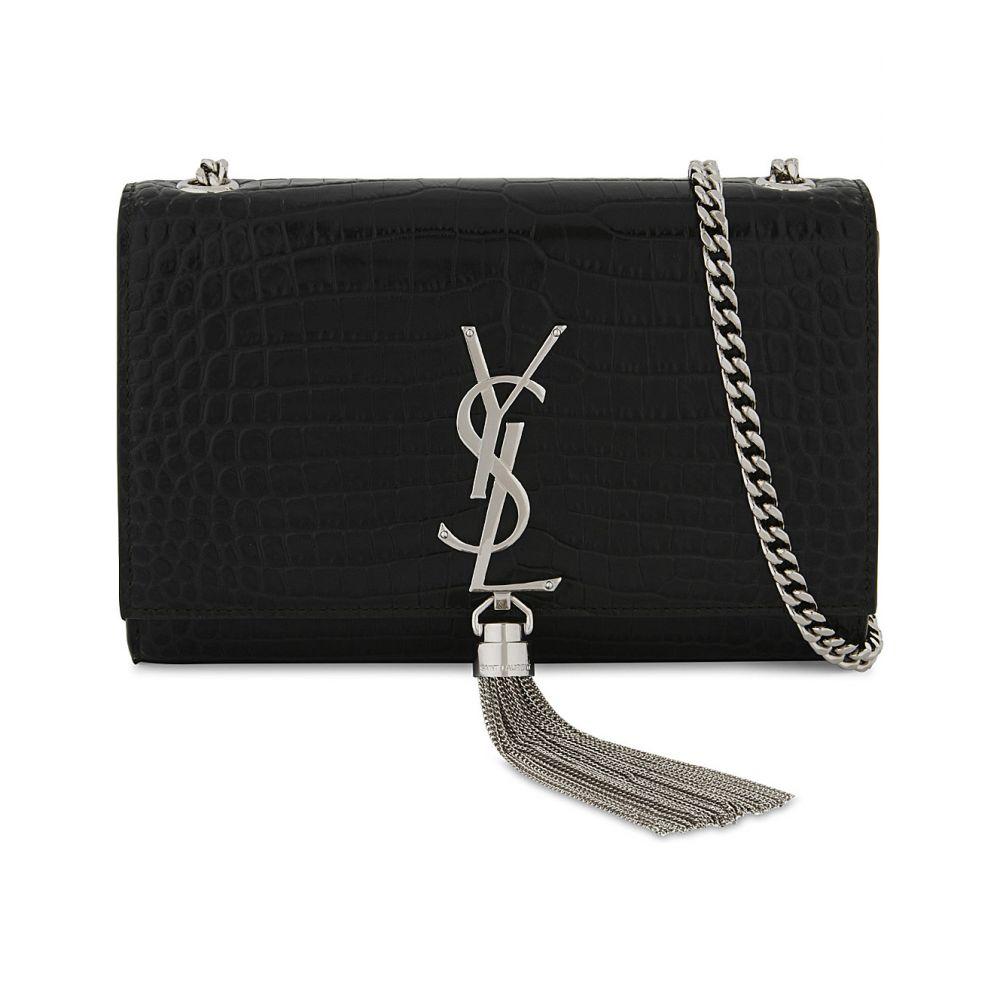 イヴ サンローラン SAINT LAURENT レディース ショルダーバッグ バッグ【Kate crocodile-embossed leather cross-body bag】BLACK
