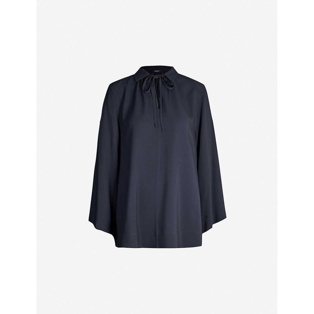 ジョゼフ JOSEPH レディース ブラウス・シャツ トップス【Fran ribbed silk blouse】Navy