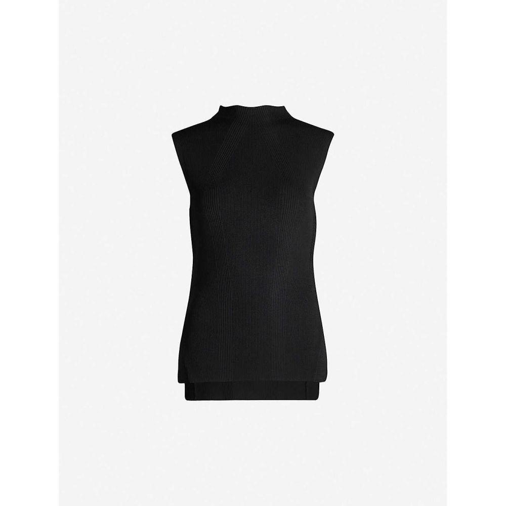 トップショップ TOPSHOP レディース ノースリーブ トップス【High-neck split-sides stretch-knit top】Black