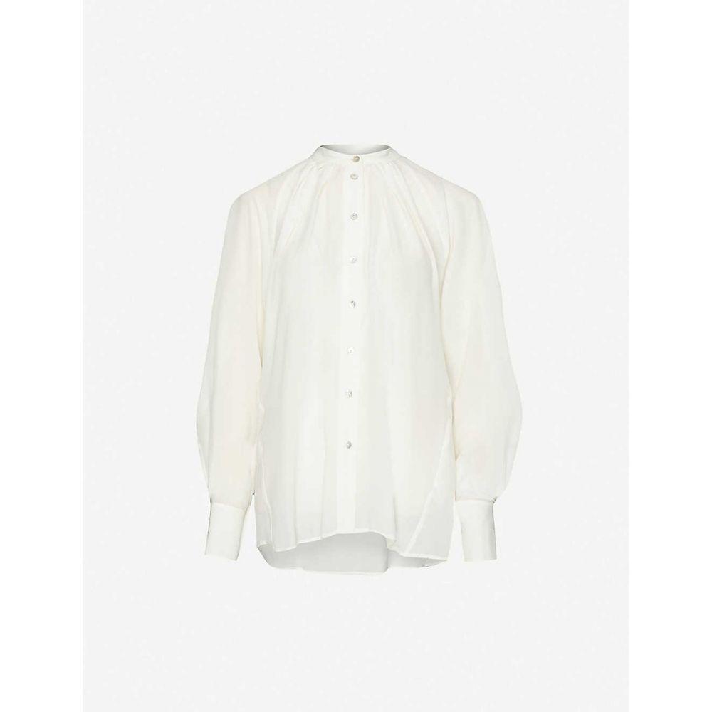 トップショップ TOPSHOP レディース ブラウス・シャツ トップス【Puffed-sleeve silk shirt】IVORY