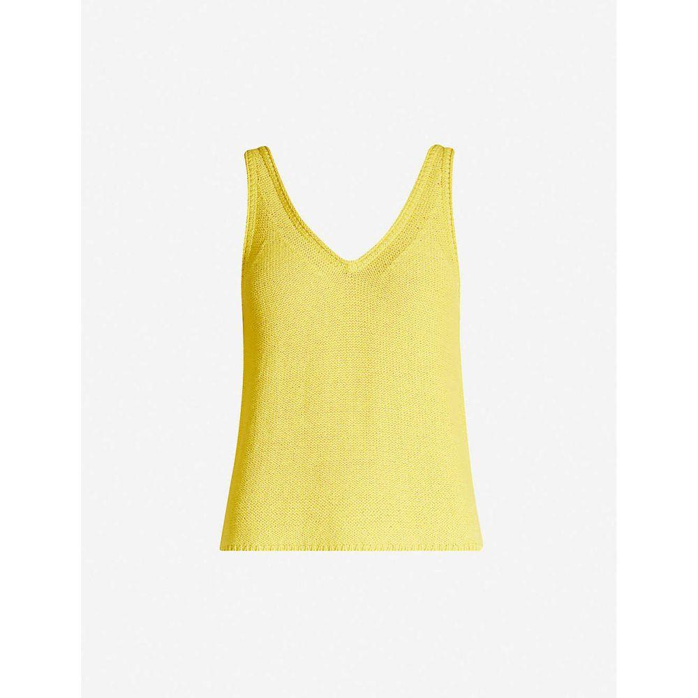 ホイッスルズ WHISTLES レディース ノースリーブ Vネック トップス【V neck knitted vest top】Yellow