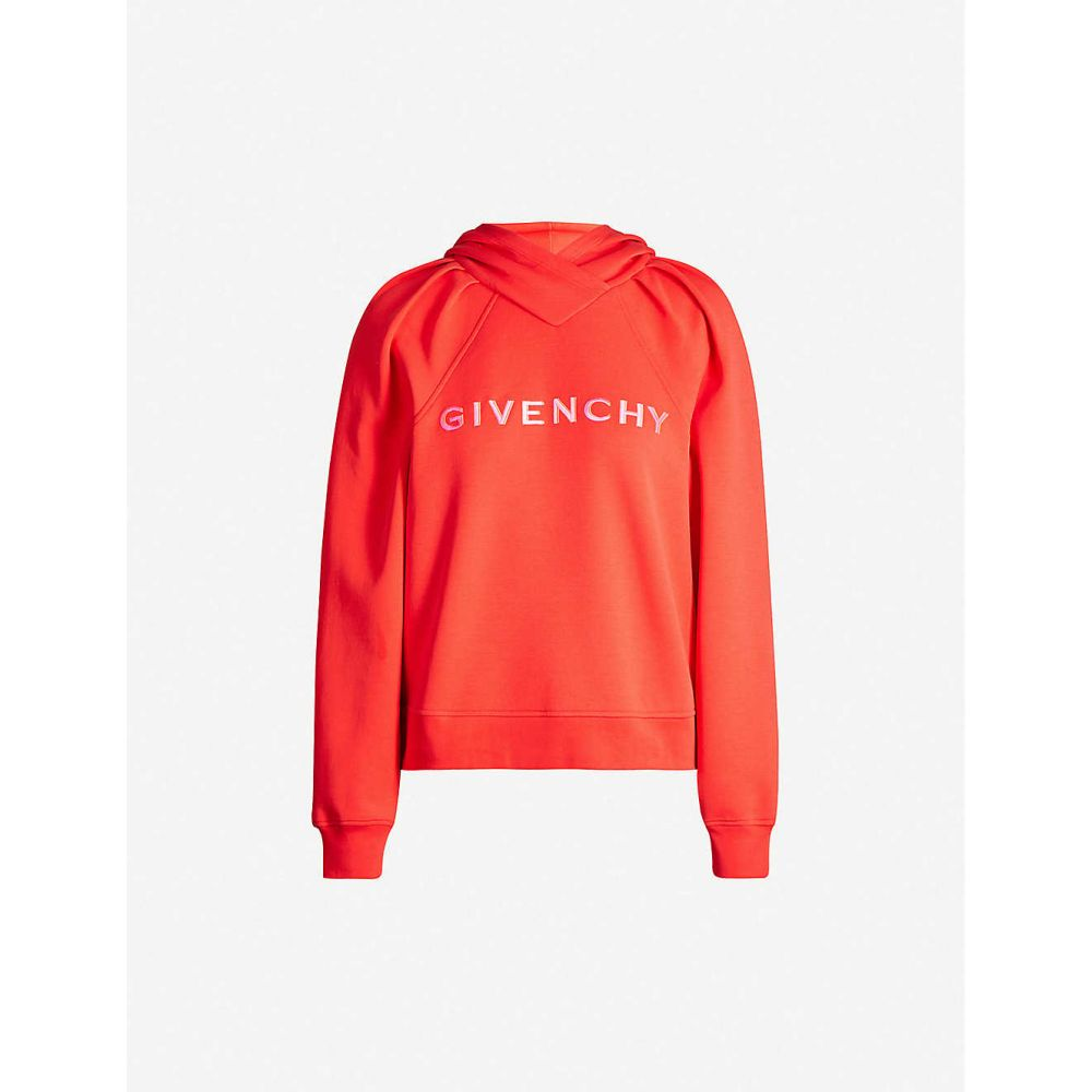 ジバンシー GIVENCHY レディース パーカー トップス【Logo-embroidered cotton-blend jersey hoody】RED