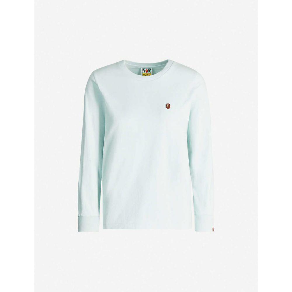 ベイプ BAPE レディース 長袖Tシャツ トップス【One Point long-sleeve cotton-jersey T-shirt】BLUE