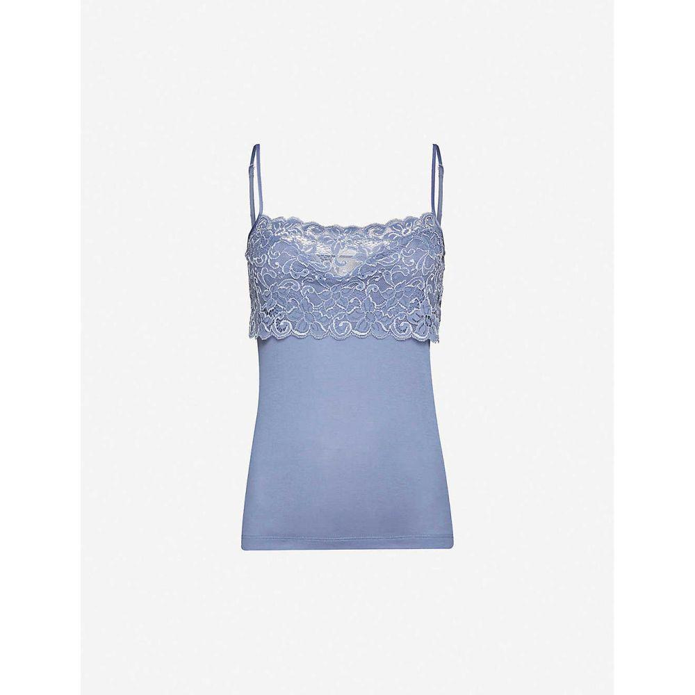 ハンロ HANRO レディース タンクトップ トップス【Moments cotton and stretch-lace tank top】CARIBBEAN BLUE