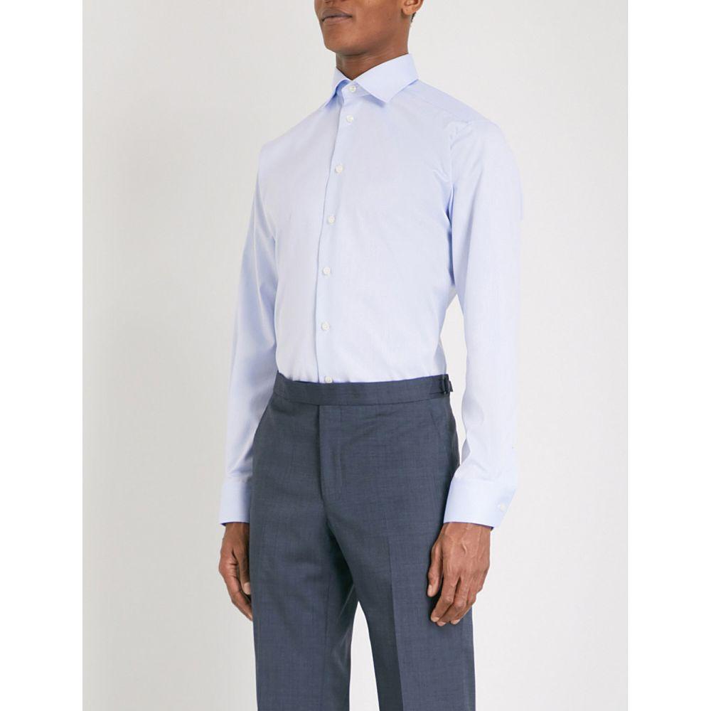 イートン ETON メンズ シャツ トップス【Contemporary-fit cotton-twill shirt】LIGHT BLUE