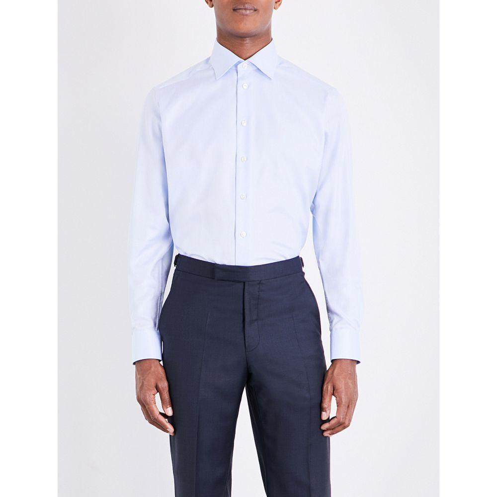 イートン ETON メンズ シャツ トップス【Contemporary-fit single-cuff cotton-twill shirt】Blue