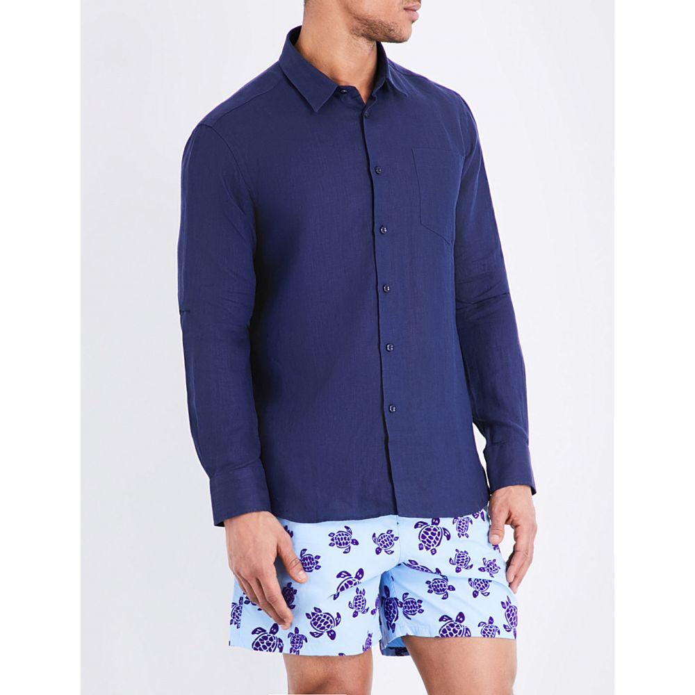 ヴィルブレクイン VILEBREQUIN メンズ シャツ トップス【Caroubis regular-fit linen shirt】Navy