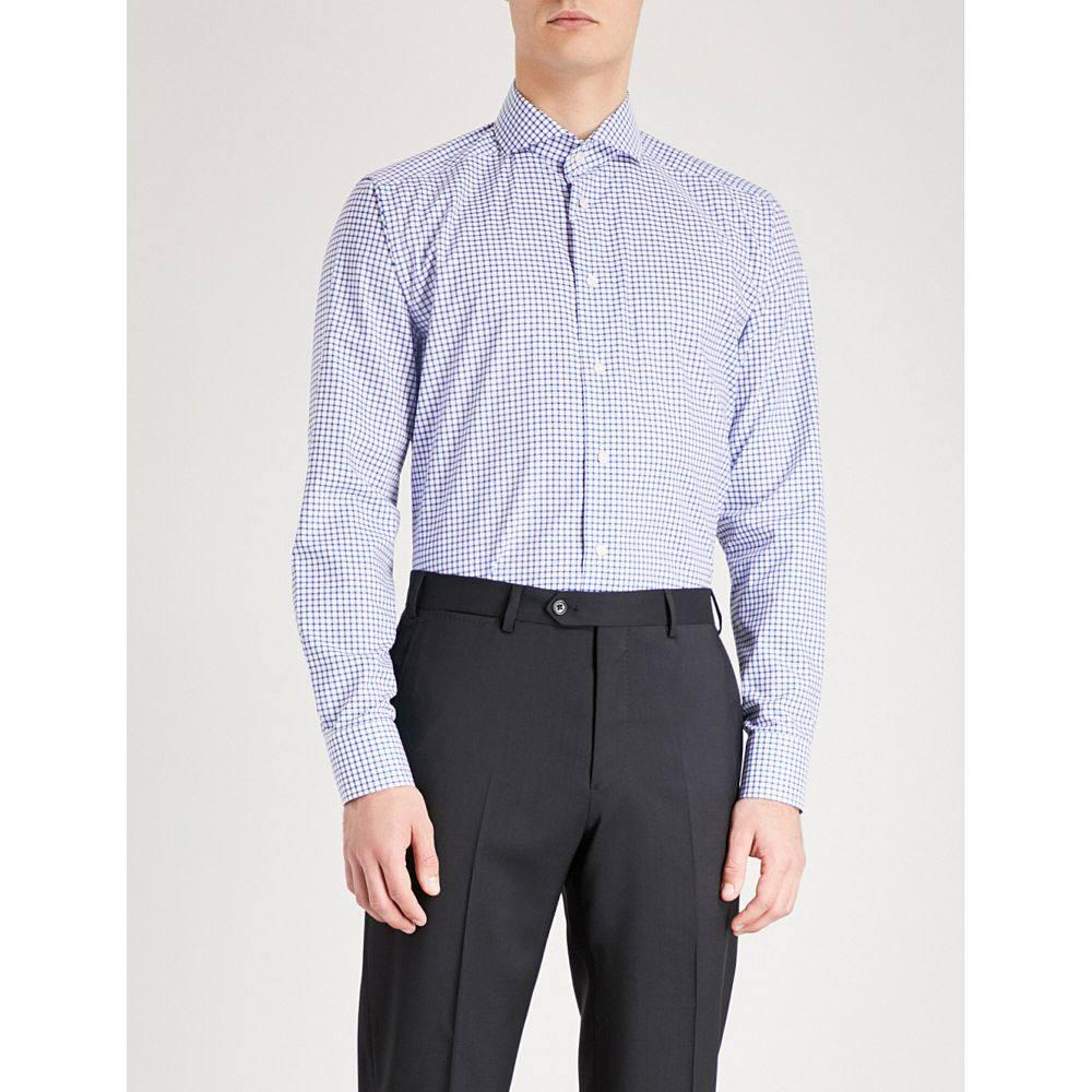イートン ETON メンズ シャツ トップス【Checked slim-fit cotton shirt】Blue