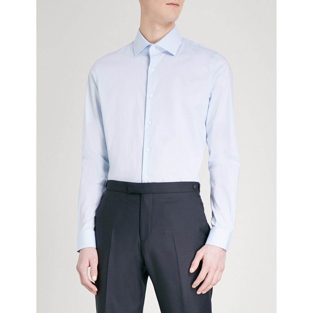 リース REISS メンズ シャツ トップス【Oxider slim-fit cotton-poplin shirt】SOFT BLUE