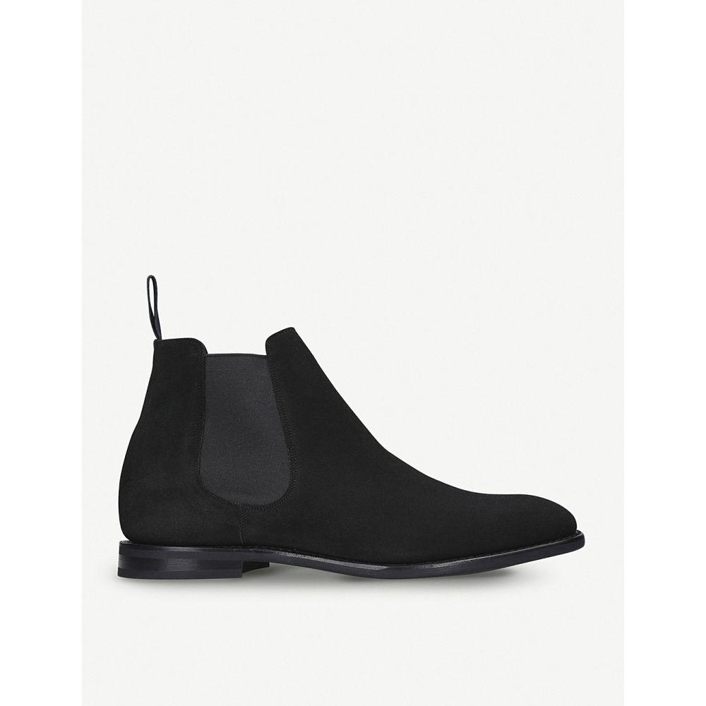 チャーチ シューズ・靴【Prenton チェルシーブーツ boots】BLACK Chelsea ブーツ メンズ CHURCH suede