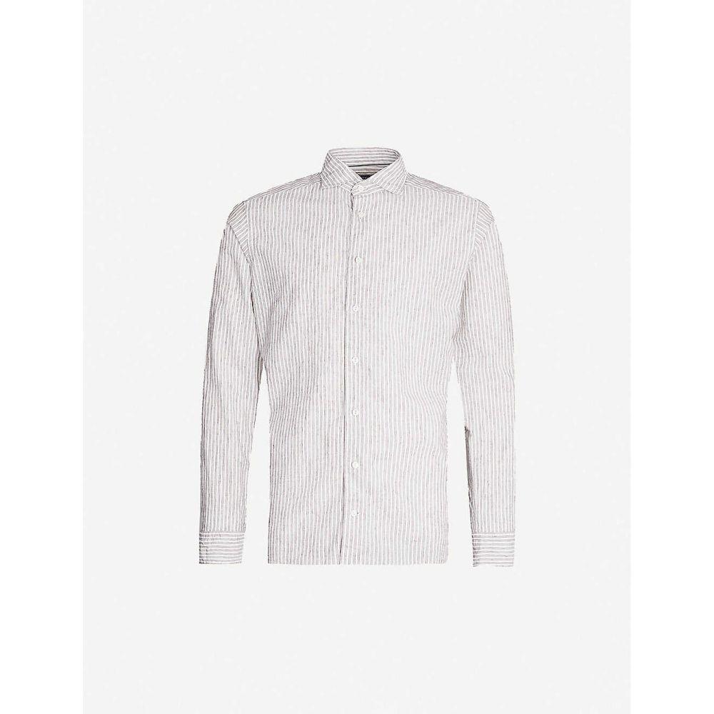 イートン ETON メンズ シャツ トップス【Striped slim-fit cotton and linen-blend shirt】Offwhite/brown