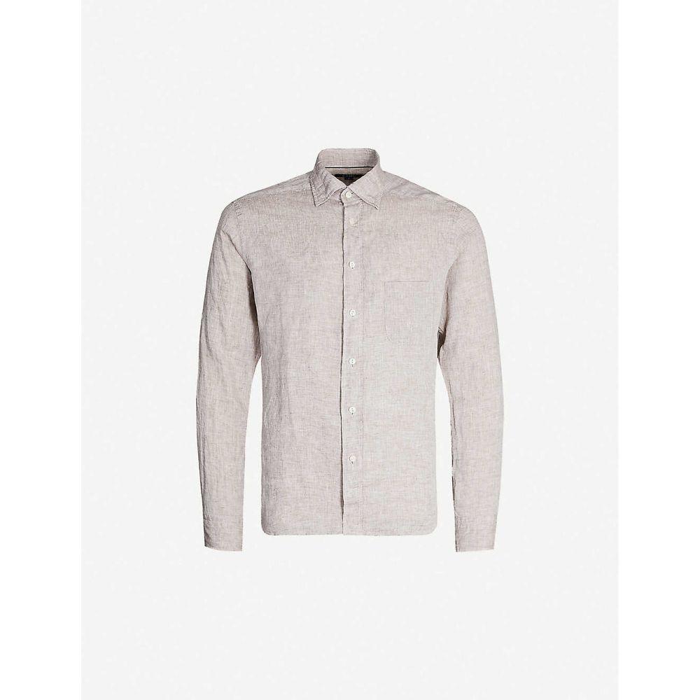 イートン ETON メンズ シャツ トップス【Slim-fit linen shirt】Offwhite/Brown