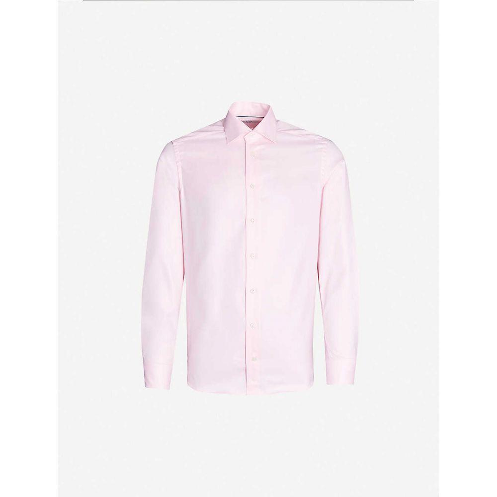 イートン ETON メンズ シャツ トップス【Herringbone slim-fit cotton shirt】Pink/red