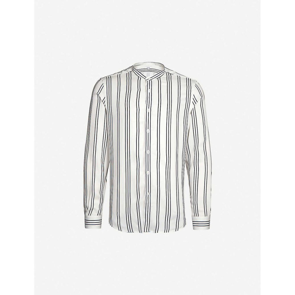 リース REISS メンズ シャツ トップス【Yorker striped slim-fit crepe shirt】WHITE