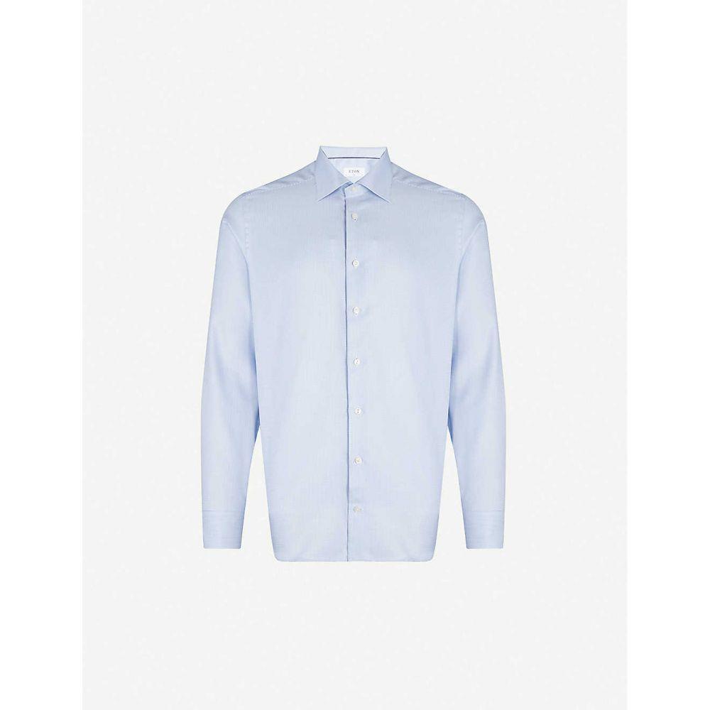 イートン ETON メンズ シャツ トップス【Slim-fit cotton-twill shirt】Blue