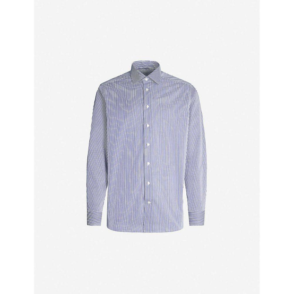イートン ETON メンズ シャツ トップス【Regular-fit striped cotton-twill shirt】Blue