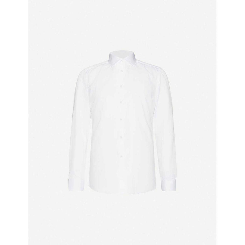 リース REISS メンズ シャツ トップス【Remote slim-fit cotton shirt】WHITE