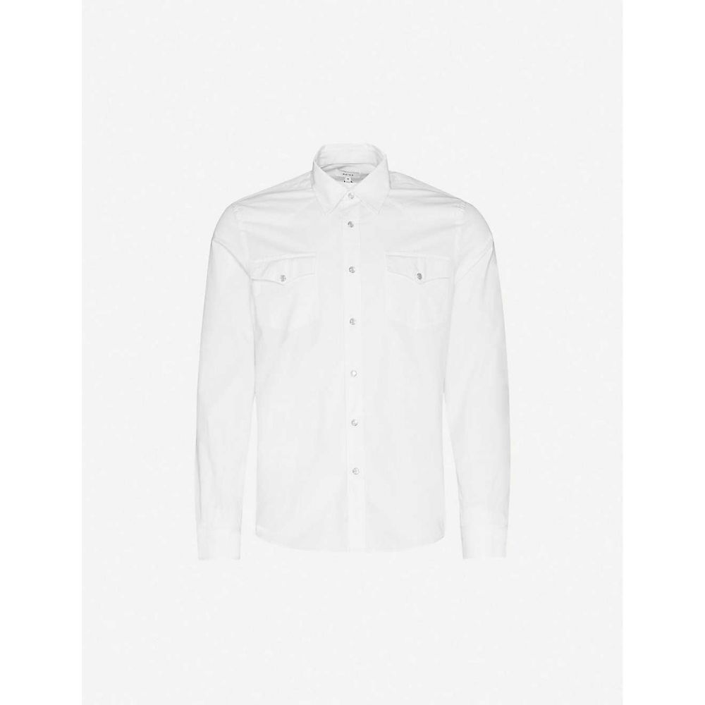 リース REISS メンズ シャツ オーバーシャツ トップス【Benny Western cotton overshirt】WHITE
