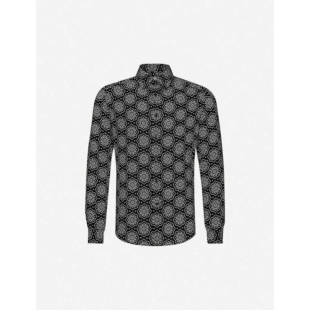 リース REISS メンズ シャツ トップス【Graphic-print slim-fit cotton shirt】BLACK