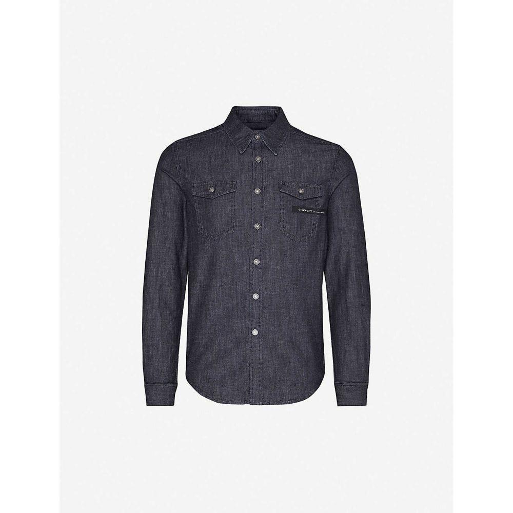 ジバンシー GIVENCHY メンズ シャツ デニム トップス【Logo-tape slim-fit denim shirt】NAVY