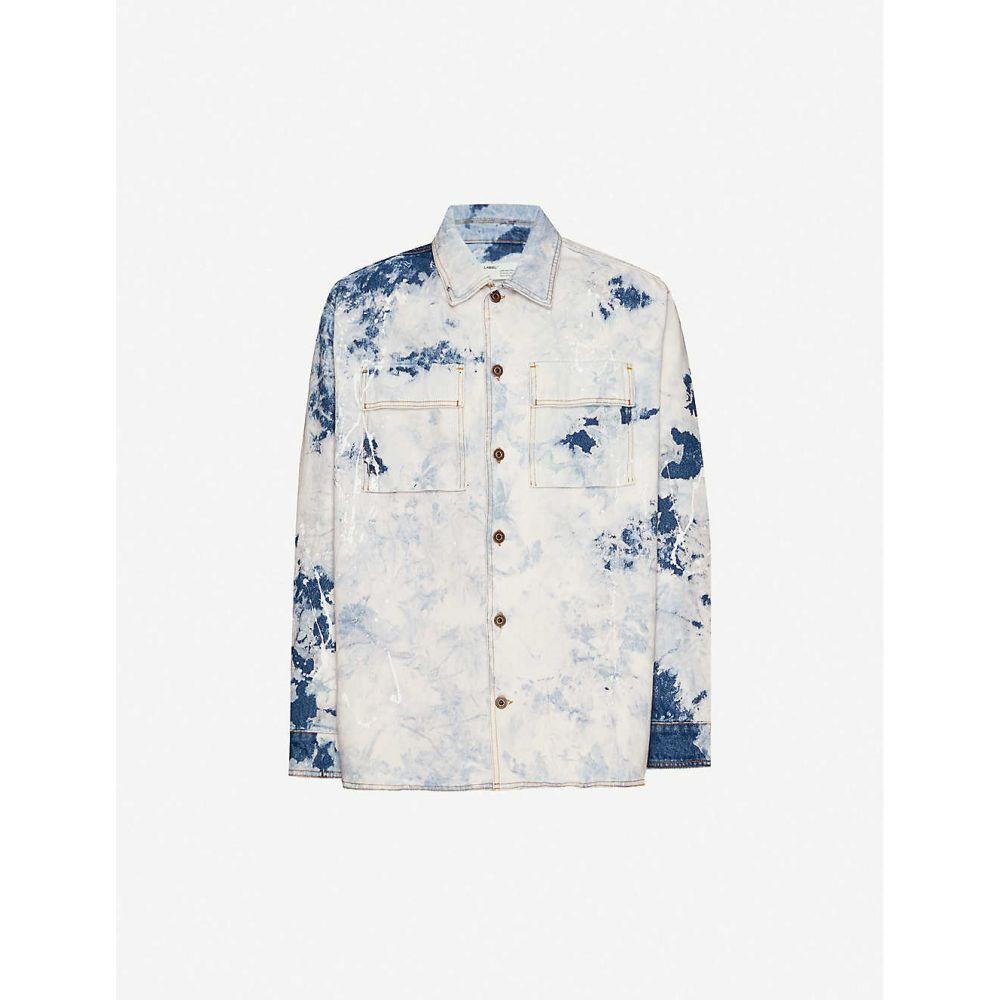オフホワイト OFF-WHITE C/O VIRGIL ABLOH メンズ シャツ デニム トップス【Brand-print oversized-fit denim shirt】BLEACHED BLUE