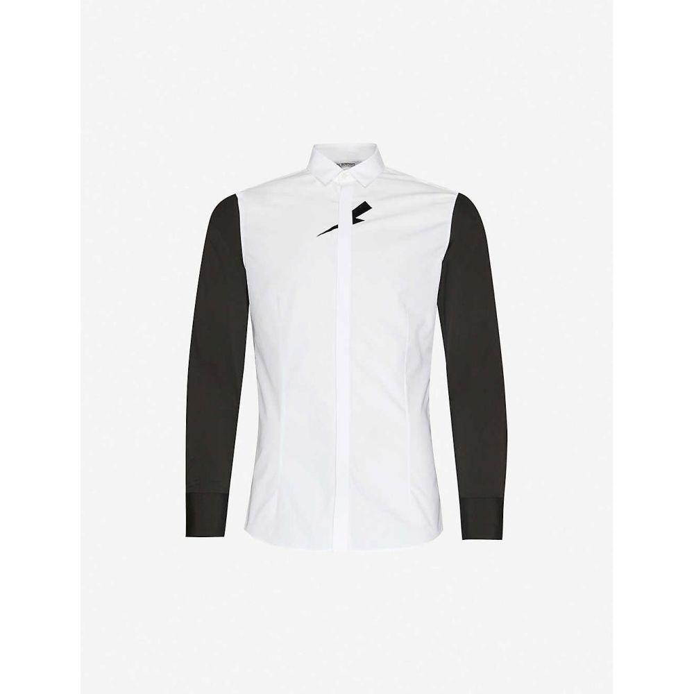 ニール バレット NEIL BARRETT メンズ シャツ トップス【Contrast-panel graphic-print cotton-blend shirt】White Black