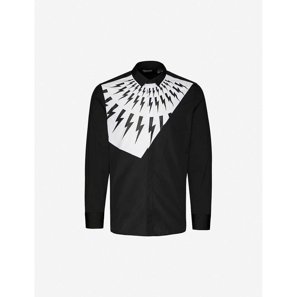 ニール バレット NEIL BARRETT メンズ シャツ トップス【Modernist Fair slim-fit cotton-blend shirt】White Black