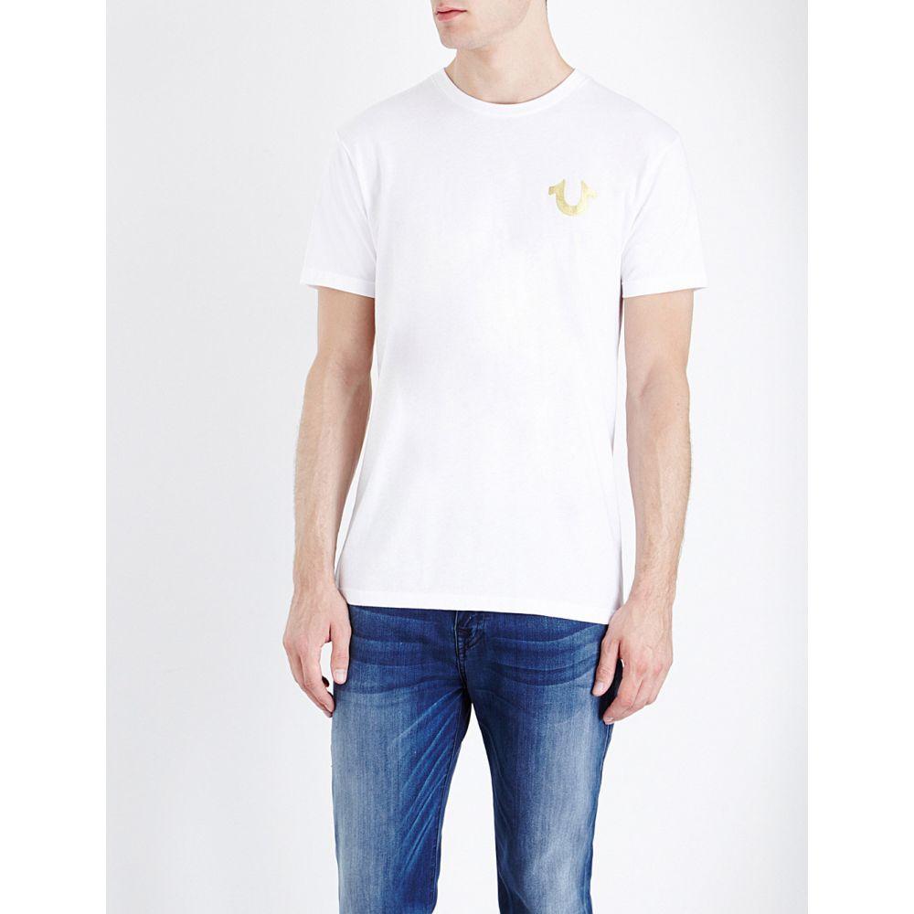 トゥルー レリジョン TRUE RELIGION メンズ Tシャツ トップス【Metallic logo-print cotton-jersey T-shirt】White