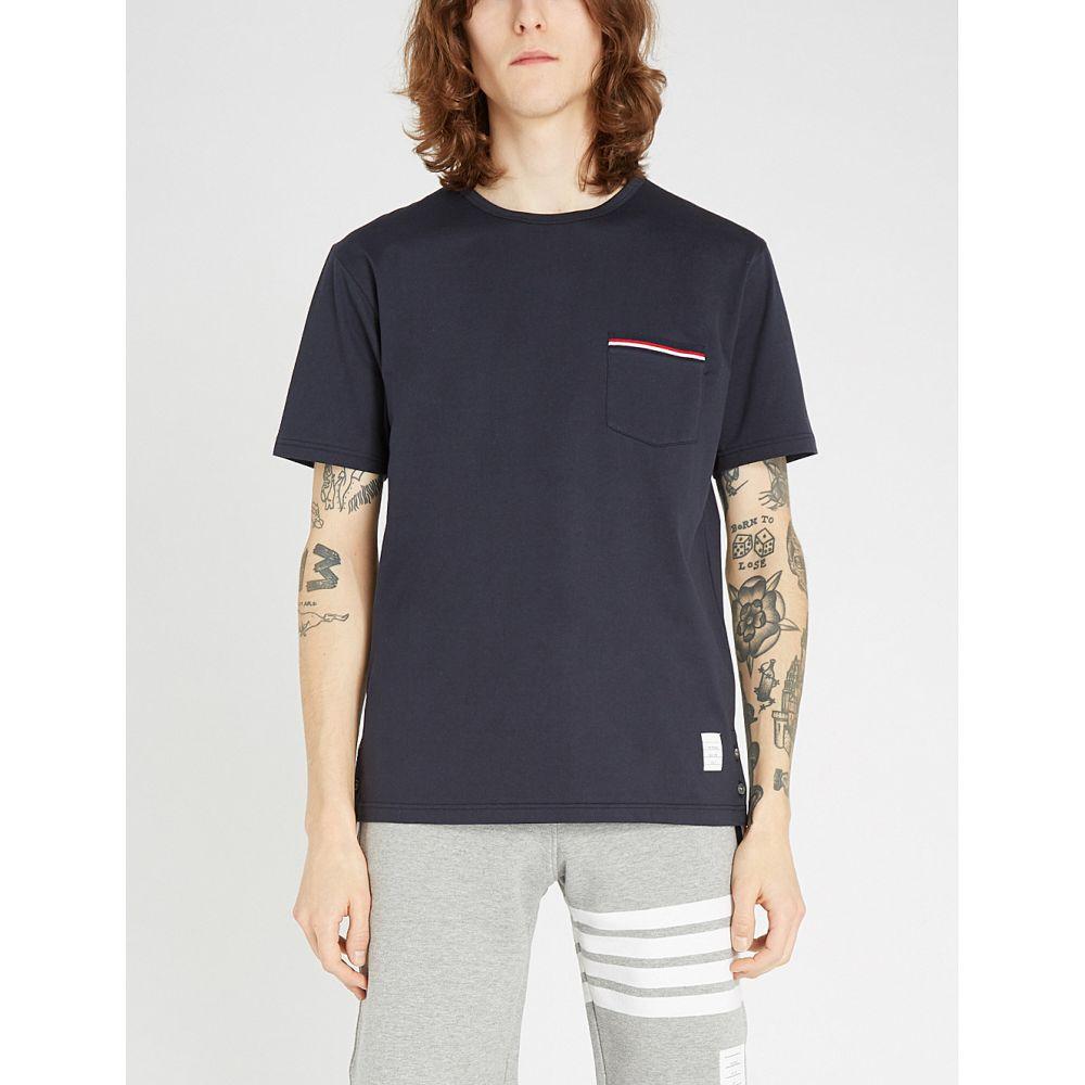 トム ブラウン THOM BROWNE メンズ Tシャツ ポケット トップス【Patch pocket cotton T-shirt】NAVY