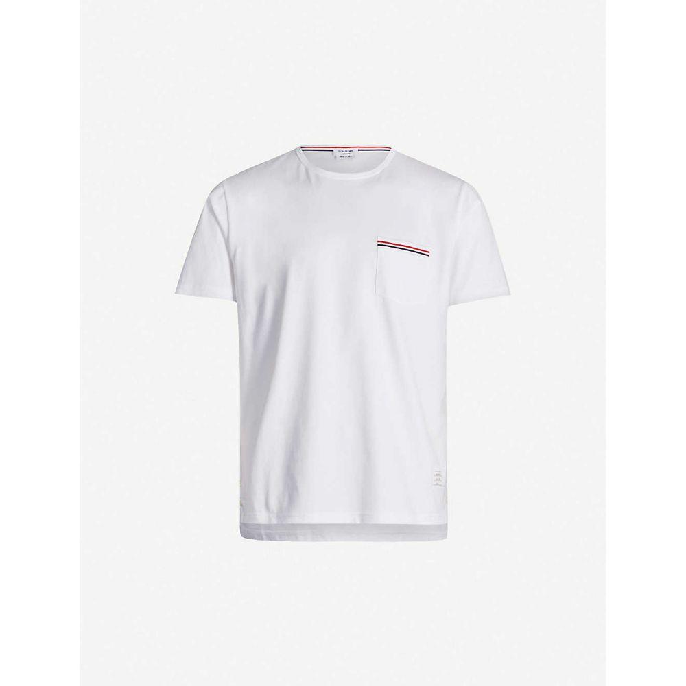 トム ブラウン THOM BROWNE メンズ Tシャツ ポケット トップス【Patch pocket cotton T-shirt】WHITE