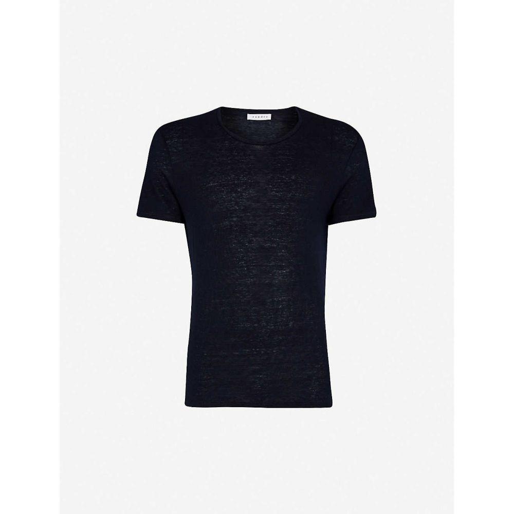 サンドロ SANDRO メンズ Tシャツ トップス【Crewneck linen-jersey T-shirt】NAVY BLUE