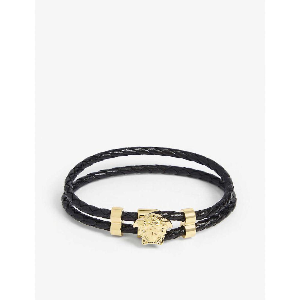 ヴェルサーチ VERSACE メンズ ブレスレット ラップブレス ジュエリー・アクセサリー【Leather wrap bracelet】Black