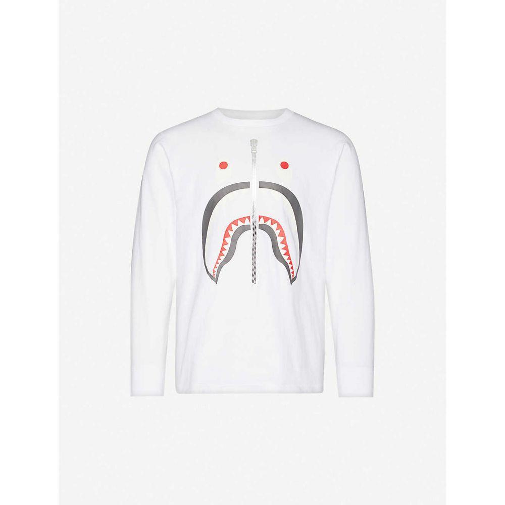 ア ベイシング エイプ A BATHING APE メンズ 長袖Tシャツ トップス【Shark print cotton-jersey top】WHITE