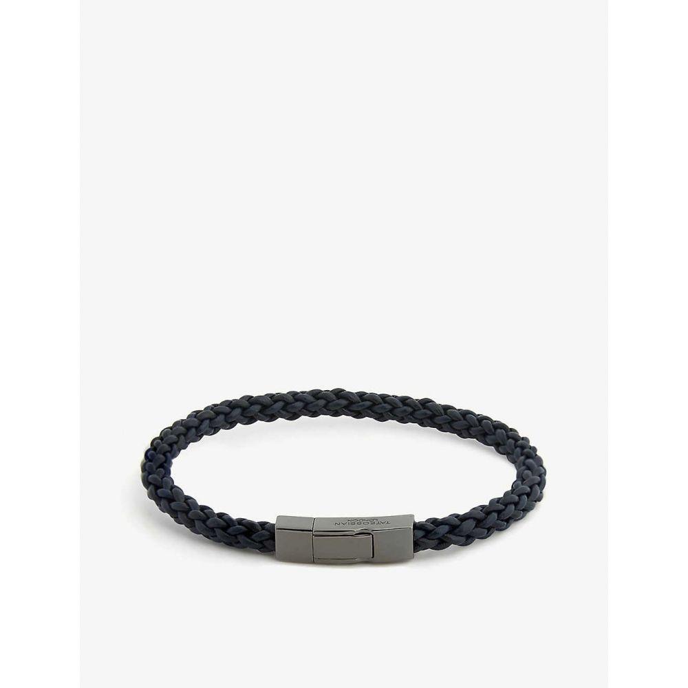 タテオシアン TATEOSSIAN メンズ ブレスレット ジュエリー・アクセサリー【Fettuccine leather bracelet】Blue