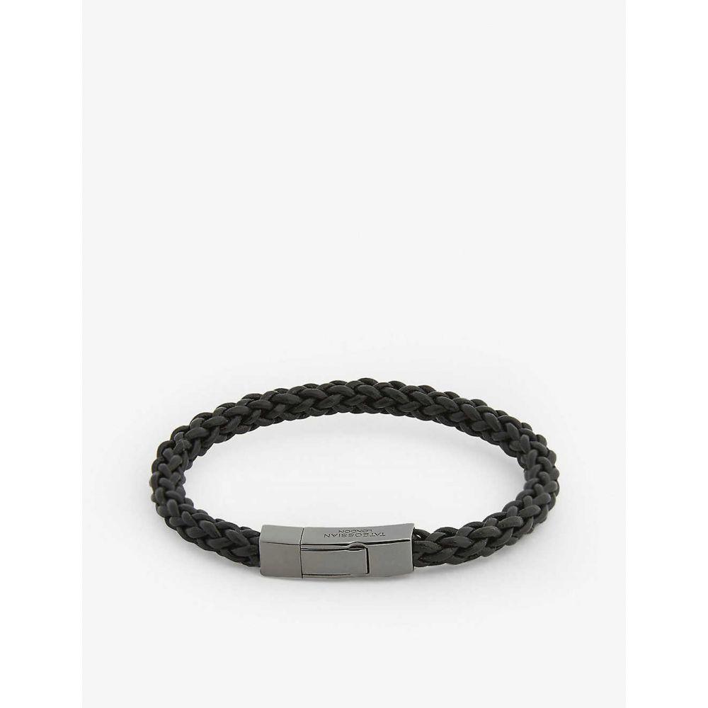 タテオシアン TATEOSSIAN メンズ ブレスレット ジュエリー・アクセサリー【Fettuccine leather bracelet】Black