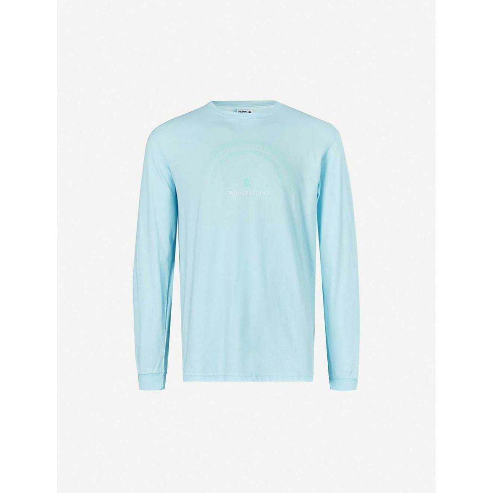 ダニエル アーシャム DANIEL ARSHAM メンズ 長袖Tシャツ トップス【Compass graphic-pattern cotton-jersey T-shirt】Baby blue