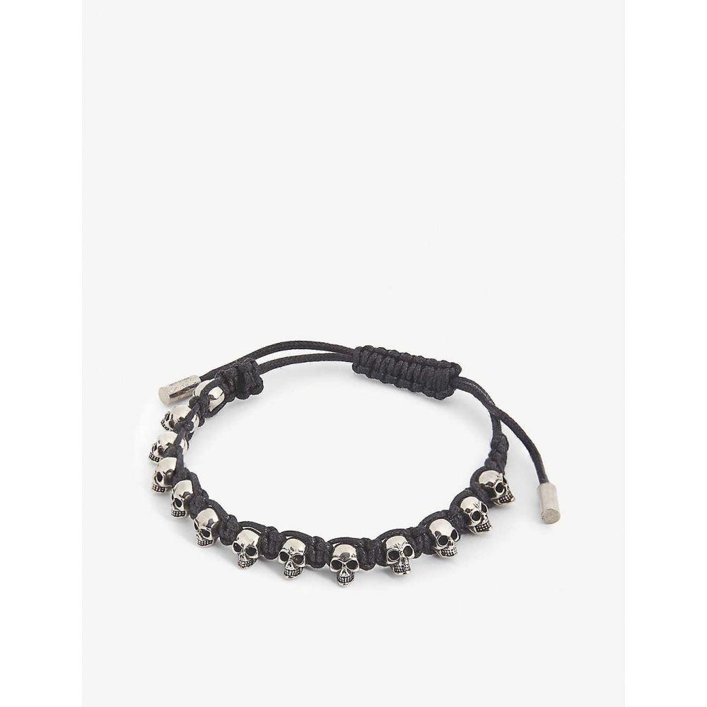 アレキサンダー マックイーン ALEXANDER MCQUEEN メンズ ブレスレット ジュエリー・アクセサリー【Skull leather bracelet】BLACK