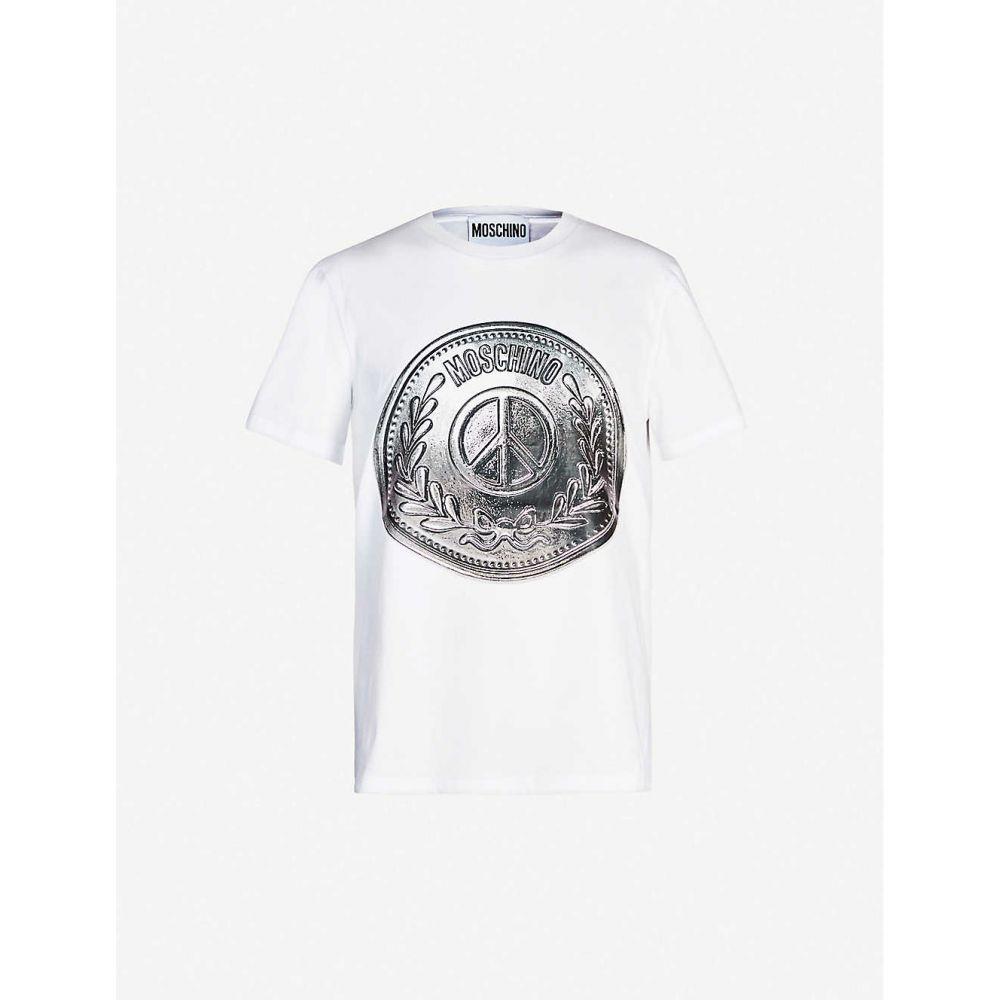 モスキーノ MOSCHINO メンズ Tシャツ トップス【Coin-print cotton-jersey T-shirt】White