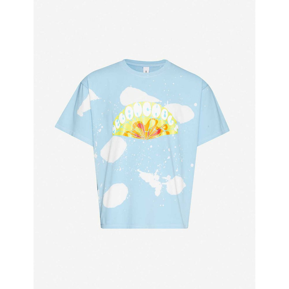 ジック アンド ヨニ ZIQ & YONI メンズ Tシャツ トップス【Logo-print cotton-jersey T-shirt】Blue Dye
