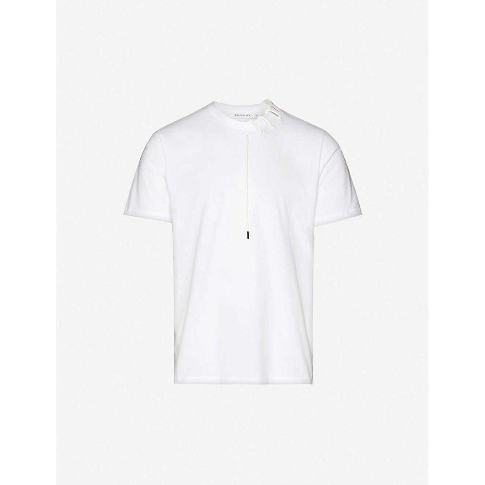 クレイググリーン CRAIG GREEN メンズ Tシャツ トップス【Lace-embellished cotton-jersey T-shirt】White